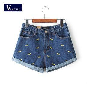 Vangull banana high waisted denim shorts